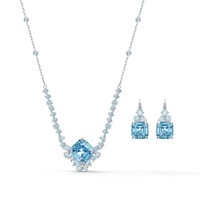 Sparkling Set, Aqua, Rhodium plated