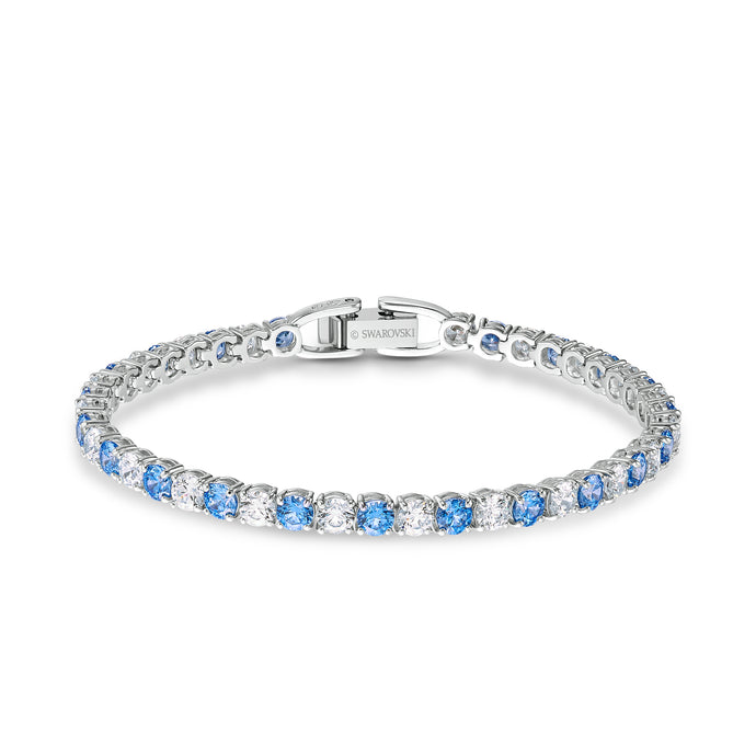 Tennis Deluxe Bracelet, Blue, Rhodium plating