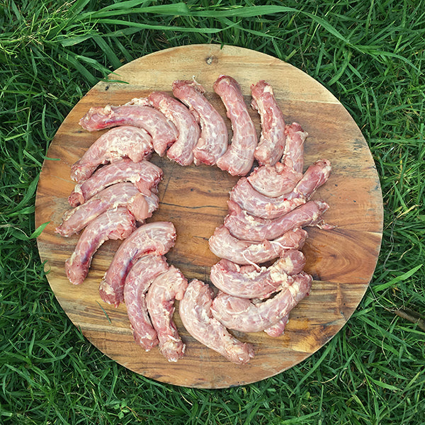 Organic free ranged chicken necks for raw feeding dogs. We're located in South West Sydney, open 7 days a week and we do home delivery of all raw food for dogs and cats.