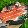Salmon heads and frames for high omega for raw feeding dogs.