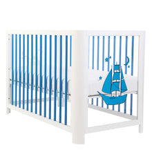 Side Facing Image of Mirrored Blue Baby Crib