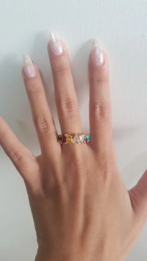 Goddess Rainbow Ring A-Z Initial Fully Adjustable