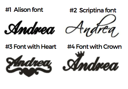 A selection of four font designs to choose from