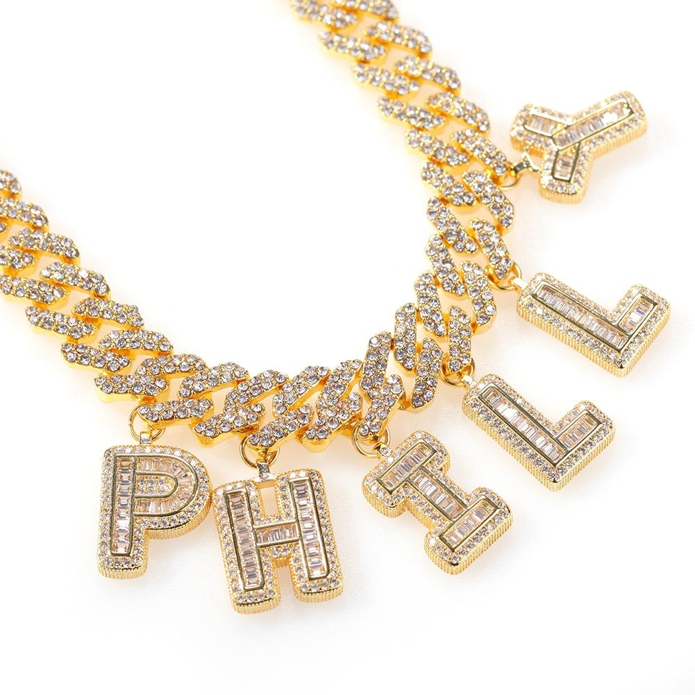 Baguette Rhinestone Custom Letter Necklace Whitecrate Shop