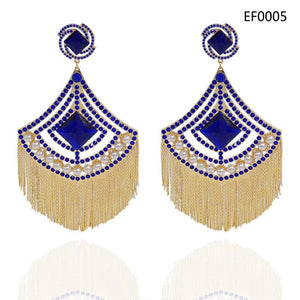 Big Crystal & Tassel Earrings Whitecrate Exclusive