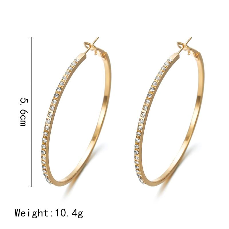 Classic Goddess Hoop Earrings with Rhinestones Whitecrate Exclusive