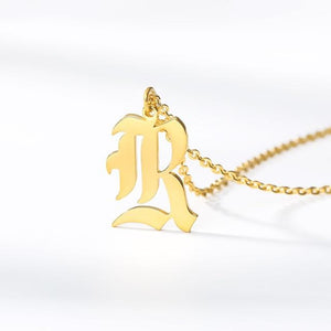 Delicate Old English Letter Necklace Whitecrate Shop