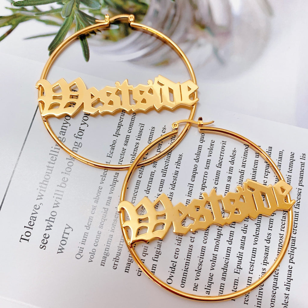 Elegant Old English Custom Name Hoops Whitecrate Shop