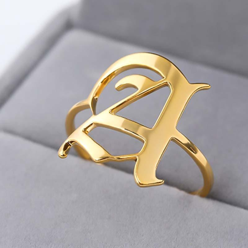 Elegant Old English Letter Ring Whitecrate Shop