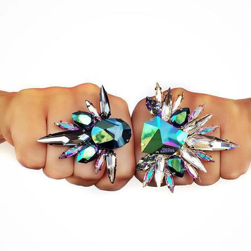 Fire Polished Crystal Punk Ring Whitecrate Exclusive