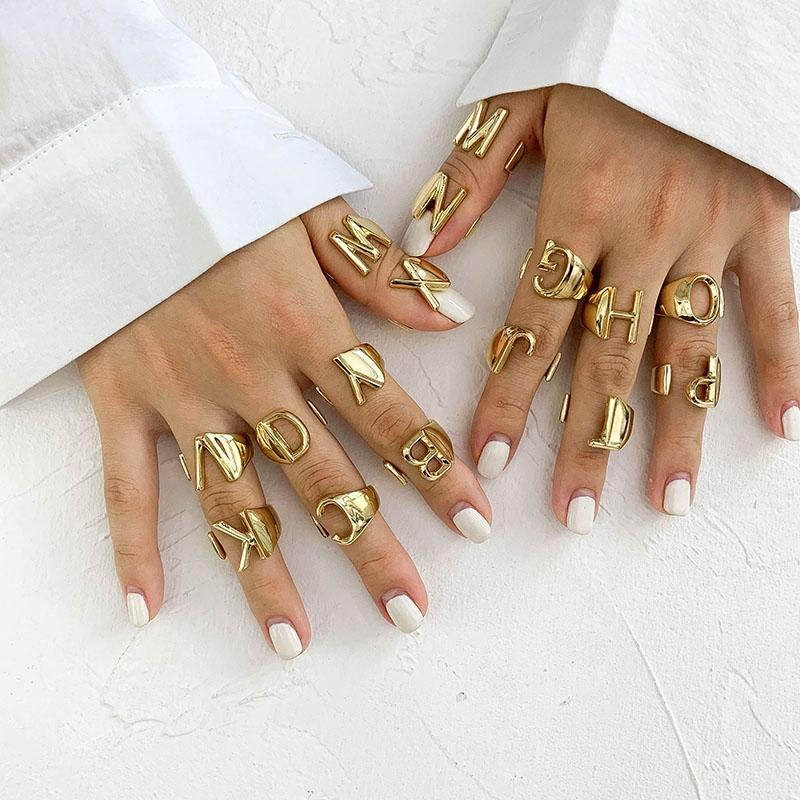 Gold A-Z Goddess Rings - Fully Adjustable Whitecrate Exclusive