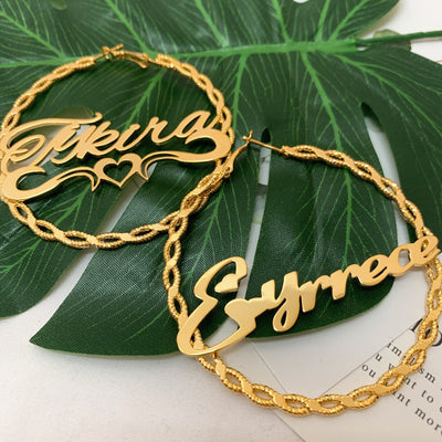 Rope Design Custom Name Hoops Whitecrate Shop