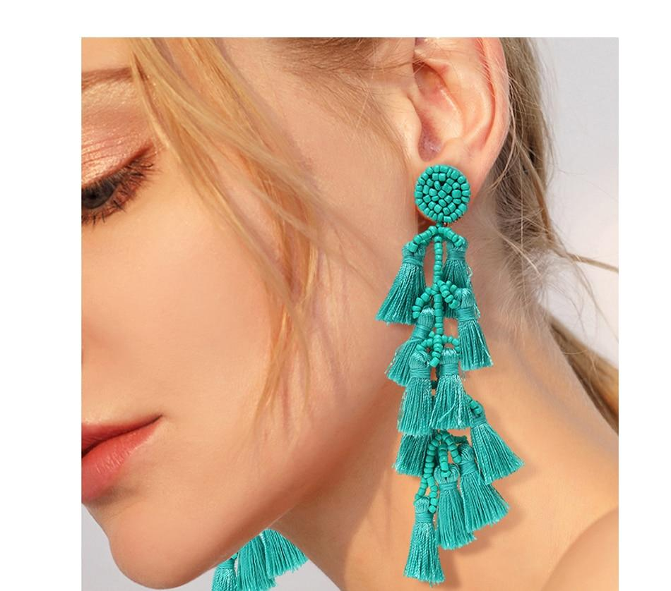 Turquoise Silk & Beaded Boho Earrings Whitecrate Shop