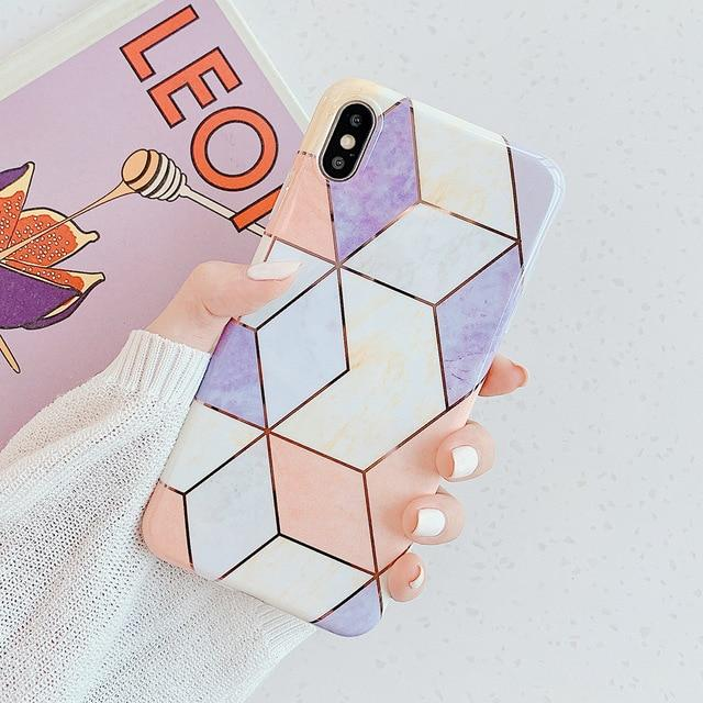 iPhone Geometric Marble Case Whitecrate Shop