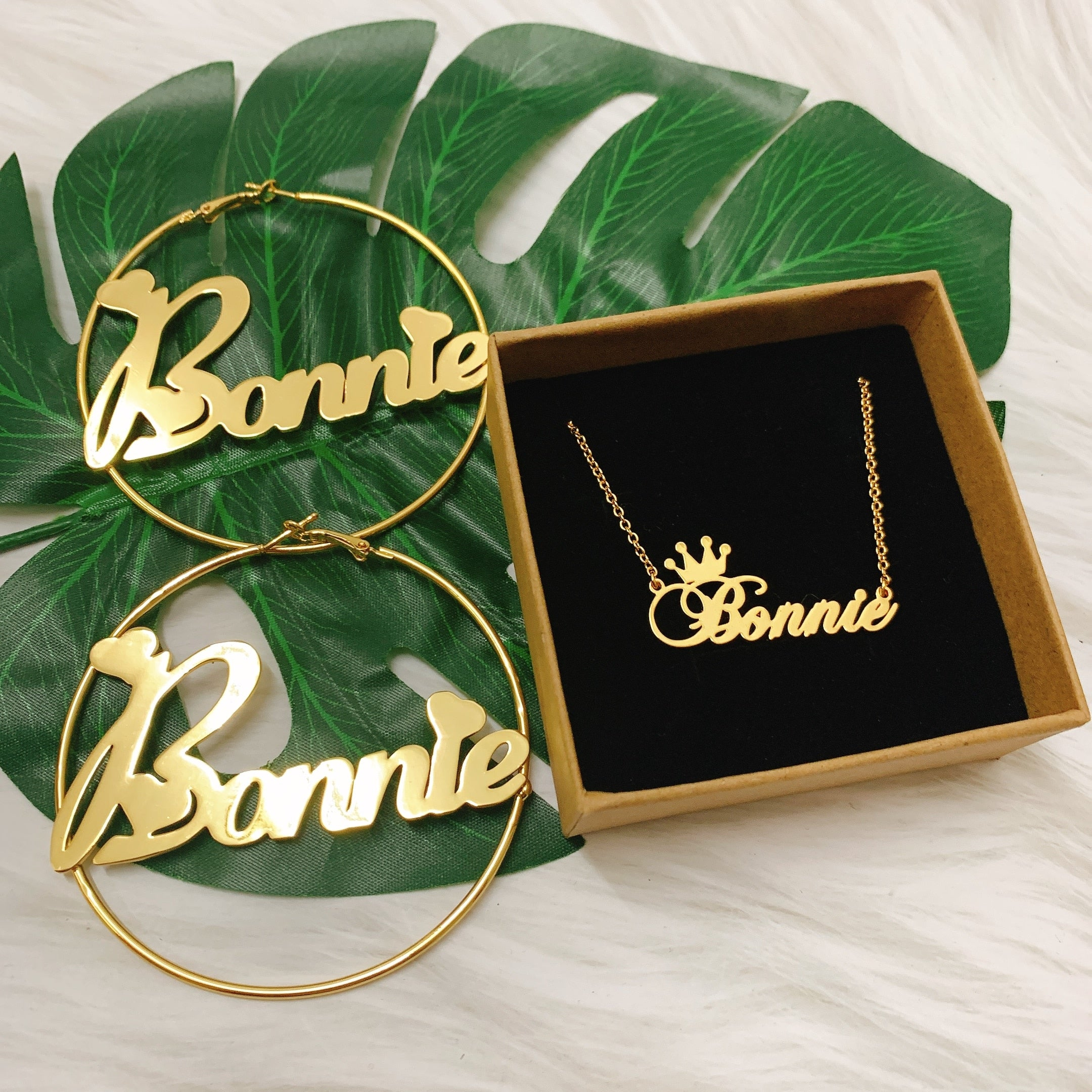 Custom Name Goddess Hoops & Necklace Set