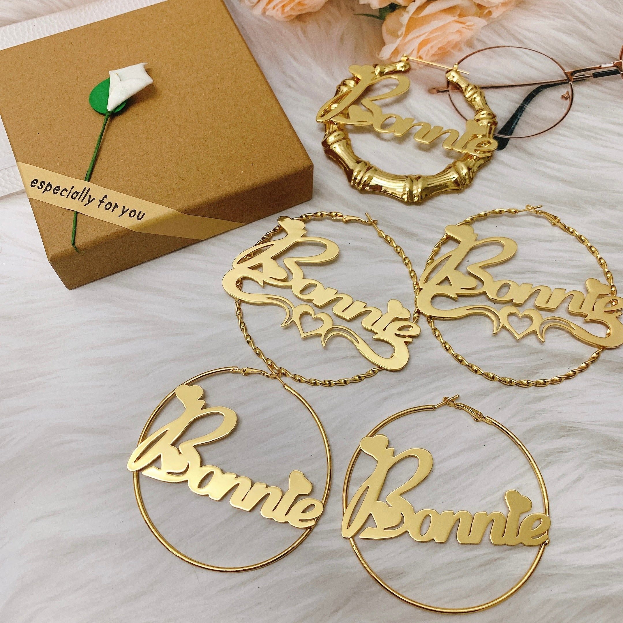 Goddess Custom Name Hoops Set (x3 Pairs)