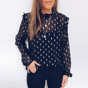 Crew Neck  Plain Printed  Blouses