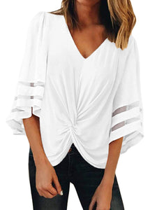 V-Neck Trumpet Sleeve Knotted Loose Top