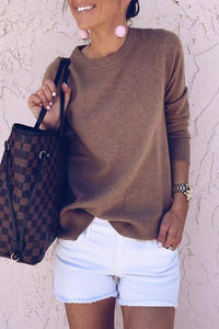 Casual Solid Color Loose Knit Long Sleeve Blouse T-Shirt