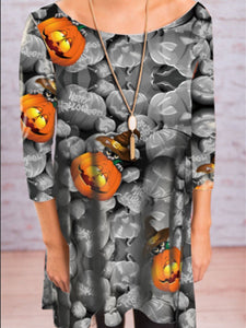 Halloween Pumpkin Head Print Dress
