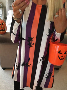 Halloween Round Neck Long Sleeve Dress