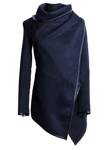 Blue High Neck Front Wrapped Trench Coat