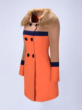 Faux Fur Collar  Double Breasted  Color Block Woolen Coat