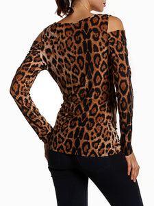 Open Shoulder  Leopard Printed Long Sleeve T-Shirt