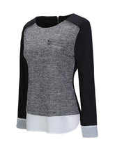 Round Neck  Patchwork  Color Block Blouse