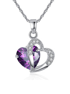 Faux Crystal Rhinestone Heart Necklaces