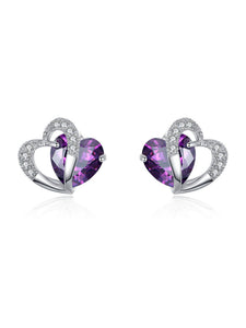 Pair Of Alloy Faux Crystal  Heart Earrings