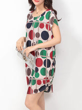 Color Block Polka Dot Round Neck  Shift Dress