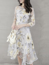 Floral Printed Hollow Out Chiffon Skater Dress