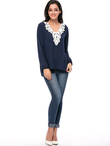 High-Low V-Neck Decorative Lace Vented Blouse