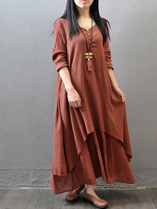 V-Neck Solid Double Layer Maxi Dress