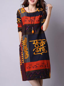 Casual Tribal Printed Round Neck Shift Dress