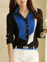 Color Block  Roll-Up Sleeve Blouse