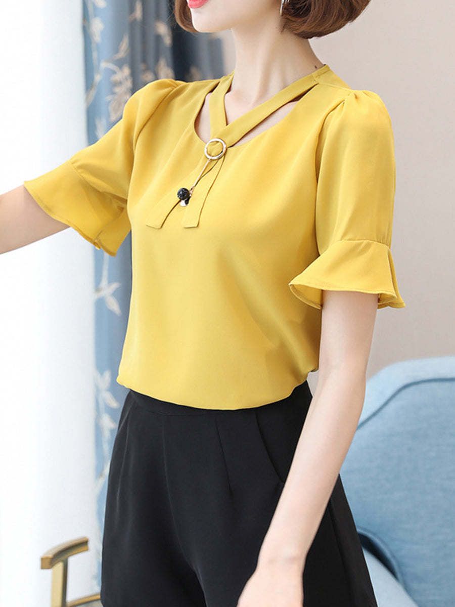 V-Neck  Hollow Out Plain  Bell Sleeve Blouse