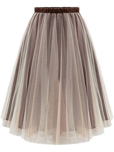 Basic Hollow Out  Flared Midi Skirt
