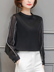 Chic Band Collar  Contrast Stitching  Hollow Out Blouse