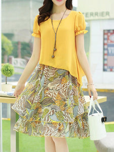 Extraordinary Round Neck Printed Chiffon Skater Dress