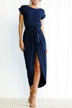 Asymmetric Hem  Plain  Short Sleeve Maxi Dresses