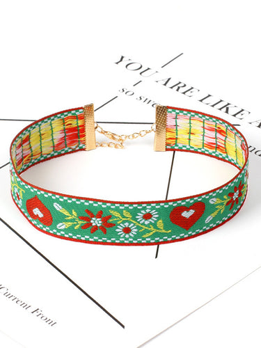 Embroidery Choker Adjustable Necklace