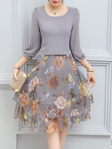 Women Floral Printed Chiffon Skater Dress