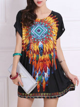 Summer Feather Tribal Printed Mini Shift Dress