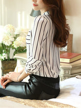 Split Neck  Patch Pocket  Striped  Long Sleeve Blouses