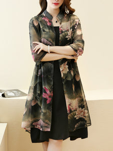 Casual Lotus Printed Chiffon Two-Piece Shift Dress