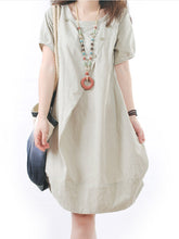 Solid Round Neck Pocket Sack Shift Dress
