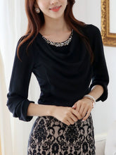 Round Neck Beading Ruched Blouse