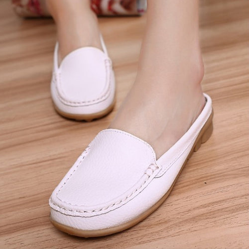 Soft Sole Solid Round-Toe Flat Mules